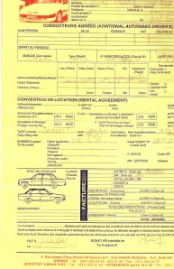 Το συμβόλαιο για το αυτοκίνητο που νοίκιασα στο Dakar