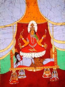 lH Shodashi σε λωτό πάνω από το σώμα του Shiva με τους θεούς Brahma, Vishnu, Shiva και Rudra να στηρίζουν τον θρόνο
