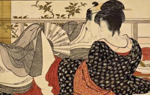 """""""Οι εραστές του επάνω ορόφου"""" (Ουταμάρο Κιταγκάβα, 1788)"""
