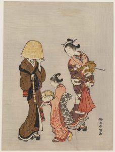 Suzuki Harunobu, A Kamuro Using a Mirror to Recognize a Komusô