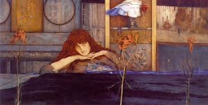 "Fernand Khnopff: ""I lock my door upon myself"" (λάδι σε καμβά,1891. Neue Pinakothek, Μόναχο)"