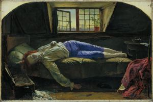 "Henry Wallis: ""The Death of Chatterton"" (1856)."