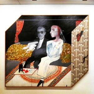"David Hockney ""The second marriage"". Λάδι, κολλάζ και γκουάς σε καμβά (1963)."