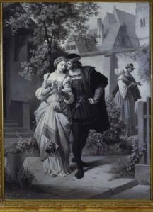 """Theodor Pixis (1831 - 1908): """"Faust und Gretchen, Marthe und Mephisto im Garten"""". Frankfurt am Main, Goethe-Haus und Goethe-Museum."""