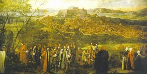 Jacques Carrey: «Ο Γάλλος πρεσβευτής του Λουδοβίκου 14ου στην Κωνσταντινούπολη, Charles Marie-Francois Olier, marquis de Nointel και η ακολουθία του με φόντο την Αθήνα και την Ακρόπολη».  Ελαιογραφία, 260 x 520 (1674).