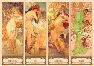 """""""Οι Εποχές"""". Σειρά 4 έγχρωμων λιθογραφιών του Alphonse Mucha, 103 x 54 εκ. έκαστη (1896)"""