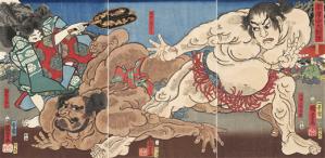 Utagawa Kuniyoshi:  «Ο Μεγάλος Αγώνας Σούμο στο Όρος Akazawa» (1858).