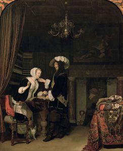 "Franz van Mieris ο Πρεσβύτερος: ""Ιππότης στο Κατάστημα"".  Λάδι σε ξύλο, 1660. Kunst Historisches Museum. Βιέννη,"